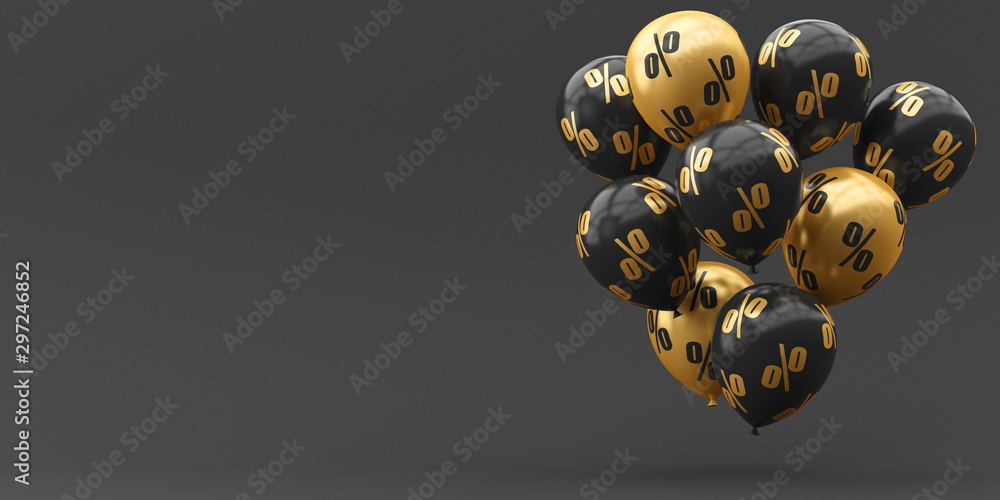 Fototapety, obrazy: Balloons black with gold and percent on a golden background. 3d render illustration. Black Friday.
