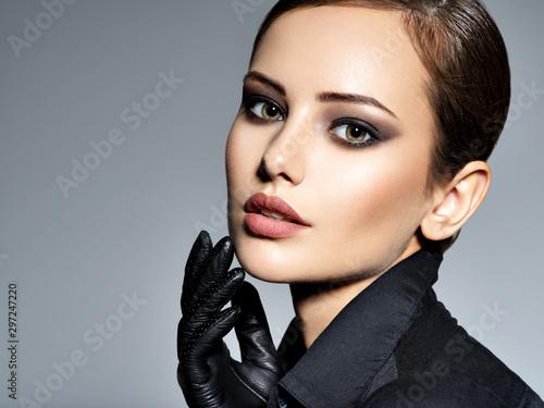 Obraz Woman makeup face fashion beautiful portrait  hairstyle slicked - fototapety do salonu