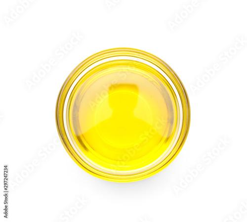 Fototapeta Bowl with hemp oil on white background, top view obraz