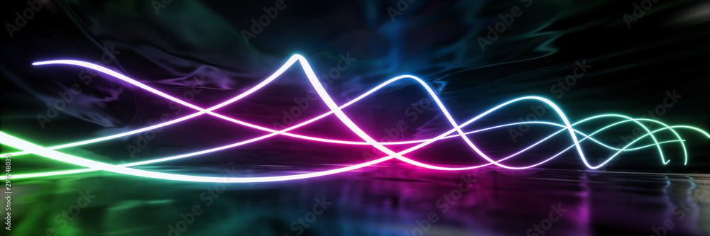 Fototapety, obrazy: Abstract geometric neon curve texture background (High-resolution 3D CG rendering illustration)