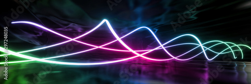 Fotomural  Abstract geometric neon curve texture background (High-resolution 3D CG renderin
