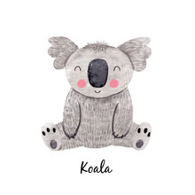 Cute Vector Watercolor Australian Baby Koala Bear Illustration For Children Print