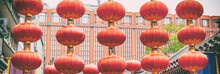 China Travel Chinese Red Lanterns In Chinatown Street For Chinese New Year Lunar Celebration Banner Background. Street Market In Beijing, China.