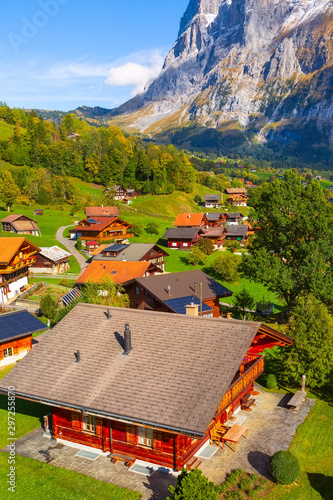 Foto auf Gartenposter Lachs Grindelwald, Switzerland aerial village view and autumn Swiss Alps mountains panorama landscape, wooden chalets on green fields and high peaks in background, Bernese Oberland, Europe