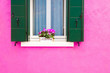 canvas print picture - Window with flowers and green shutters on the pink wall. Colorful architecture in Burano island, Venice, Italy.