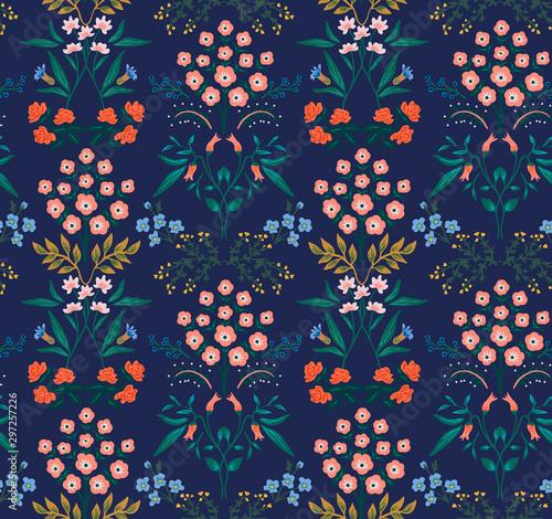 Fototapeten Künstlich Japanese Tropical Floral Seamless Pattern