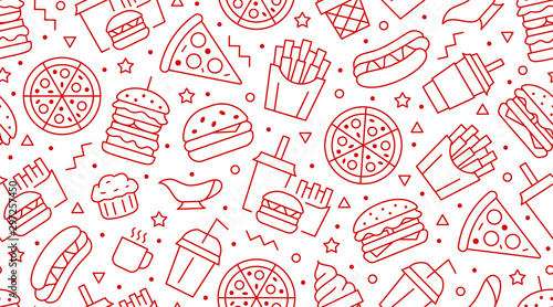 Obraz na plátně Fast food seamless pattern with vector line icons of hamburger, pizza, hot dog, beverage, cheeseburger