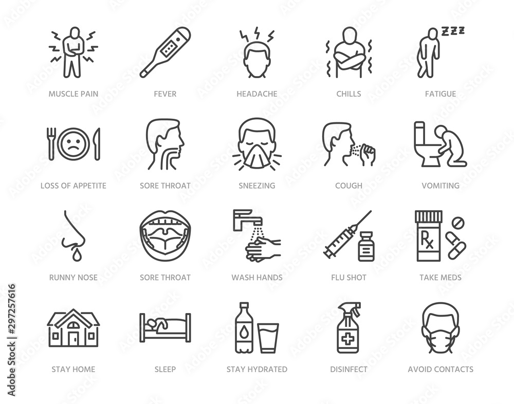 Fototapeta Flu disease prevention, cold symptoms flat line icons set. Fever headache sneeze, sore throat vector illustrations. Outline signs medical healthcare infographic. Pixel perfect 64x64. Editable Strokes