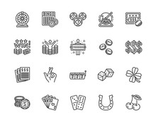 Lottery Winner Flat Line Icons...