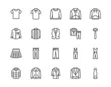 Cloth Flat Line Icons Set. App...
