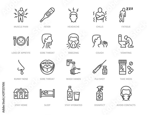 Obraz Flu disease prevention, cold symptoms flat line icons set. Fever headache sneeze, sore throat vector illustrations. Outline signs medical healthcare infographic. Pixel perfect 64x64. Editable Strokes - fototapety do salonu