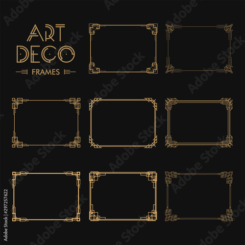 Set of Art deco borders and frames Wallpaper Mural