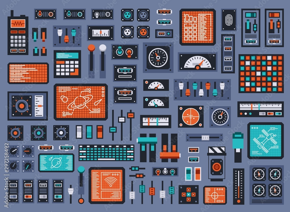 Fototapeta Set of control panel elements for spacecraft or technical industrial station. Vector illustration.