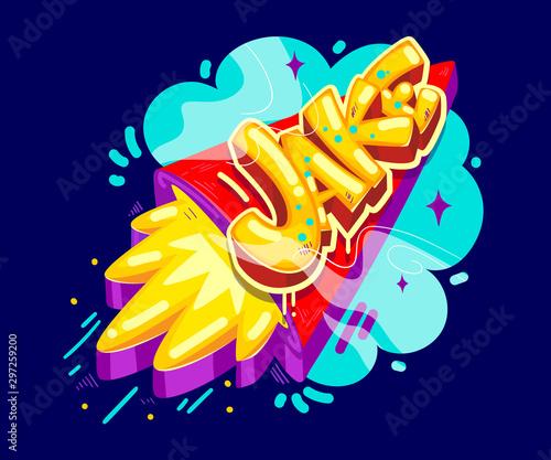 Photo Jake cartoon name graffiti style on the rocket start