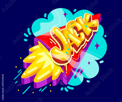 Jack name graffiti style on the rocket start Wallpaper Mural
