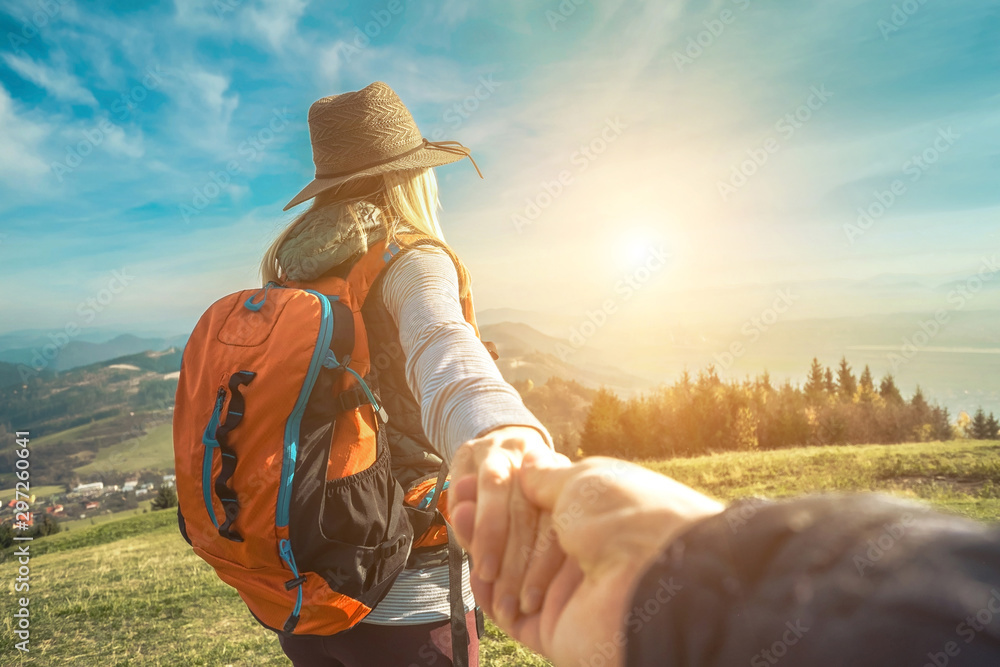Fototapety, obrazy: Happy traveler woman tourist stay on the green grass on the peak