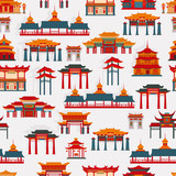 Fototapeta Sypialnia - Seamless vector pattern with black and white Chinese traditional buildings on a  white background