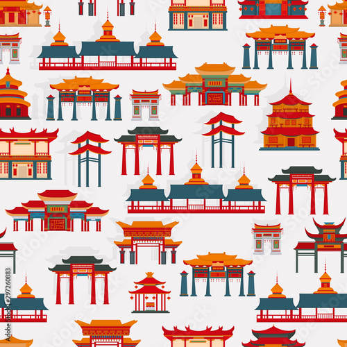 Seamless vector pattern with black and white Chinese traditional buildings on a  white background