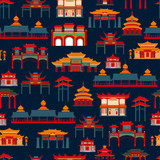 Fototapeta Sypialnia - Seamless vector pattern with black and white Chinese traditional buildings on a dark background