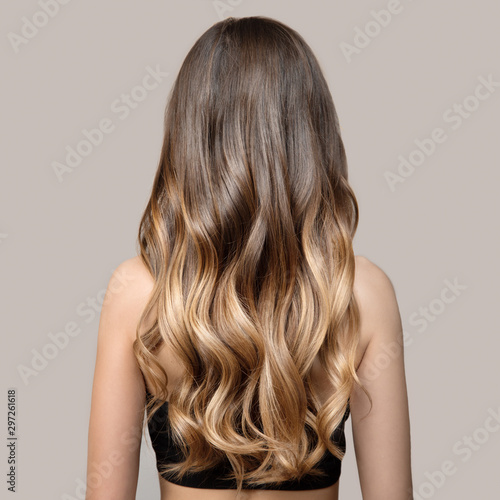 Portrait of a beautiful young brunette woman with long wavy hair. Back view.