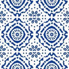 Abstract Indigo Shibori Seamless Vector Pattern With Ikat Print Of Mosaic