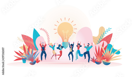 Business team jumping with happiness Metaphor idea
