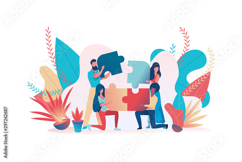 Cuadros en Lienzo Business team assemble a puzzle. Teamwork metaphor