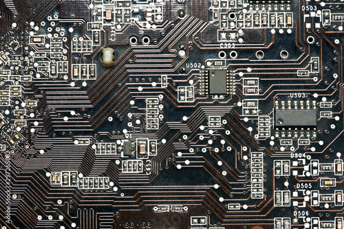 printed circuit board and microchip, or cpu closeup - electronic component for d Fototapet