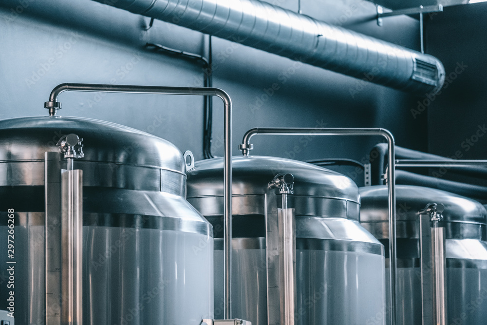 Fototapety, obrazy: Craft beer brewing equipment in brewery! Metal tanks, alcoholic drink production