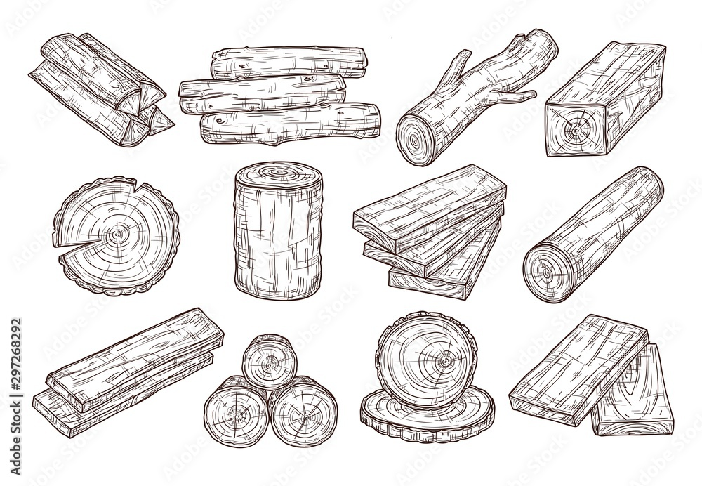Fototapety, obrazy: Hand drawn lumber. Sketch wood logs, trunk and planks. Stacked tree branches, forestry construction material vintage vector set. Illustration trunk and timber log, firewood and hardwood