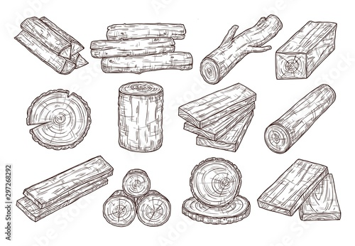 Fotografia  Hand drawn lumber