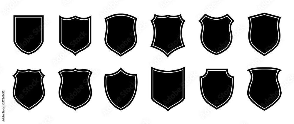 Fototapeta Police badge shape. Vector military shield silhouettes. Security, football patches isolated on white background. Illustration shield shape protection, black security and football badge