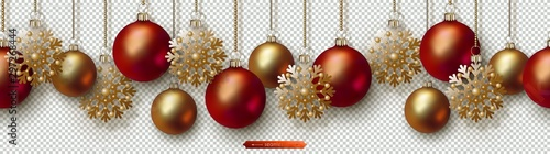 Türaufkleber Künstlich Christmas and New Year seamless border. Golden snowflakes, red and gold realistic Christmas balls hanging on chains. Decorative vector ornament for festive design isolated on transparent background