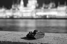 Small Sculpture Of Tank On Danube River Bank In Budapest To Memorize Soviet Invasion In October 1956, Opposite Of Parliament Bulding, At Night, Monochrome Black And White