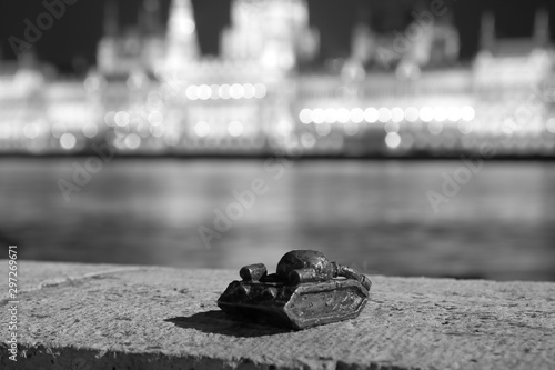 Small sculpture of tank on Danube river bank in Budapest to memorize Soviet inva Canvas Print