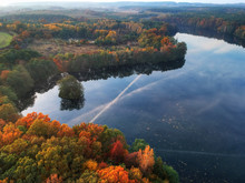 Landscape Of The Autumnal Forest And Lake In Poland