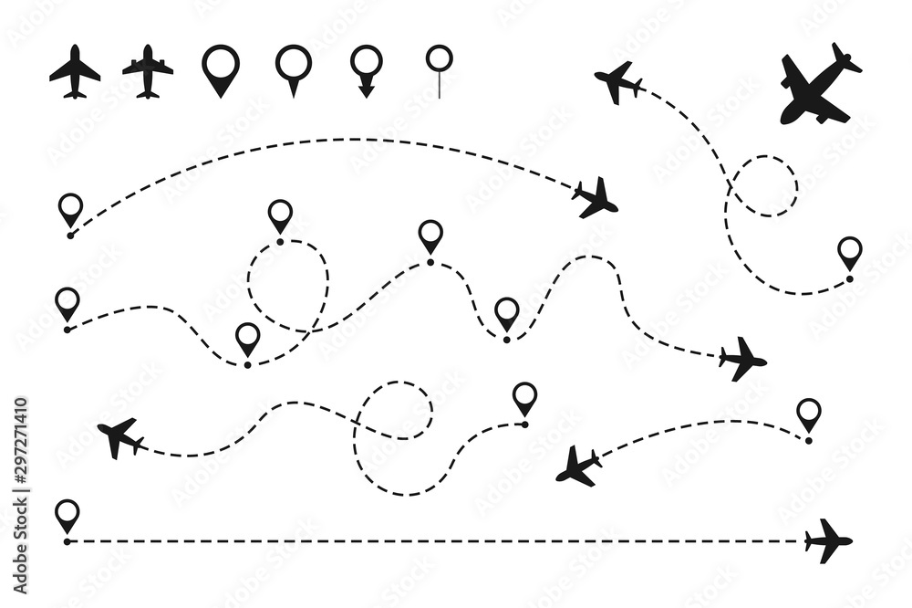 Fototapeta Airplane routes set. Plane paths. Aircraft tracking, planes, travel, map pins, location pins. Vector illustration.