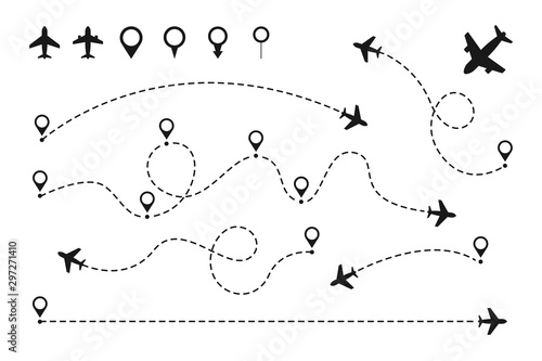 Pinturas sobre lienzo  Airplane routes set