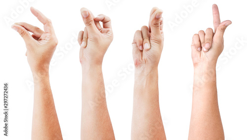 Fototapeta GROUP of Male asian hand gestures isolated over the white background. SNAP ACTON. obraz