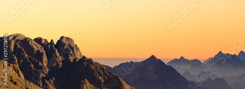 Amazing Sunrise at Sinai Mountain, Beautiful dawn in Egypt, Beautiful view from the mountain - 297273013