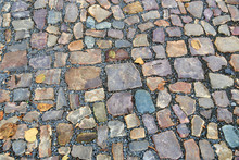 Old Pavement Of Stones Of Diff...