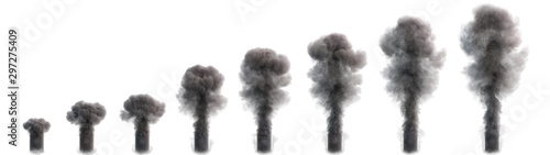 canvas print motiv - vipman4 : Smoke flow at different stages development isolated on a white. 3d illustration