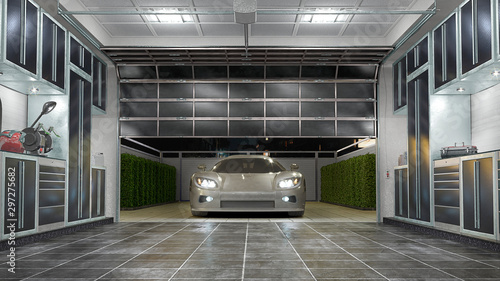 Garage interior with sectional doors. 3d illustration Wallpaper Mural