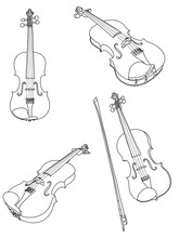 Classic Violin With Bow Vector. Vector Violin And Bow Isolated On White Background