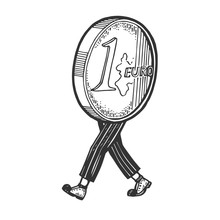 One Euro Cent Coin Cash Walks On Its Feet Sketch Engraving Vector Illustration. T-shirt Apparel Print Design. Scratch Board Style Imitation. Black And White Hand Drawn Image.