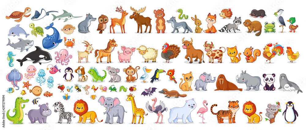 Fototapeta Big vector set with animals in cartoon style. Vector collection