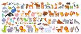Fototapeta Fototapety na ścianę do pokoju dziecięcego - Big vector set with animals in cartoon style. Vector collection