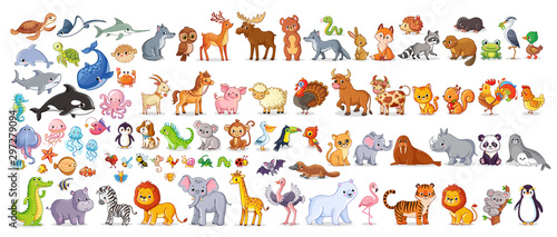 Fotografie, Obraz  Big vector set with animals in cartoon style. Vector collection