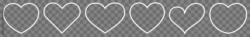 Fototapeta Heart Thin Line White | Love | Shape Logo | Isolated Transparent Variations