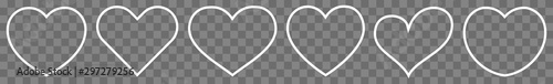 Heart Thin Line White | Love | Shape Logo | Isolated Transparent Variations